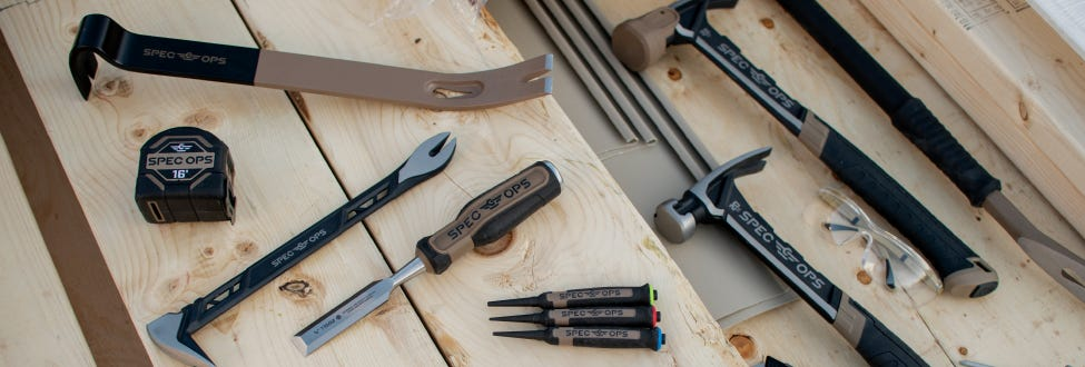 Rows of tools on a workbench